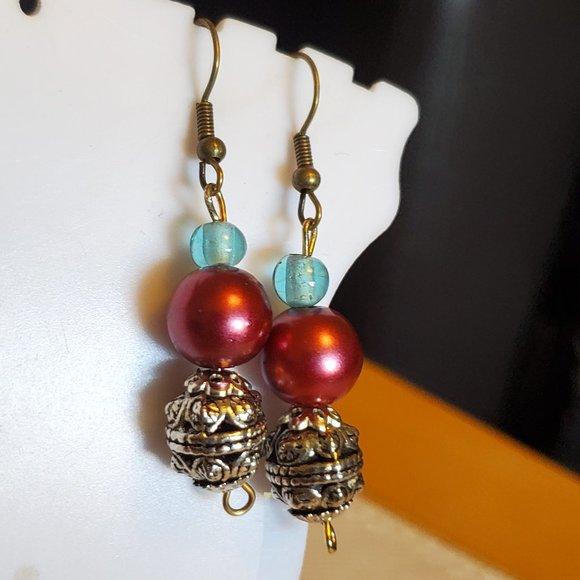 Bronze Hook Metal and Glass Bead Dangle Earrings